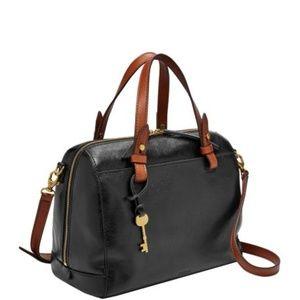 New Fossil Black Satchel Handbag